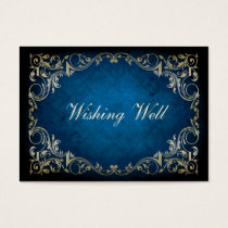 "rustic ""navy blue"" regal wishing well cards"