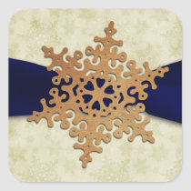 "rustic ""navy blue"" snowflake envelope seal"