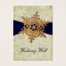 "rustic ""navy blue"" snowflake wishing well cards"