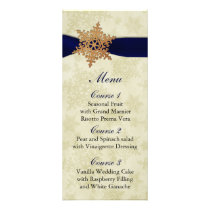 "rustic ""navy blue"" snowflakes winter wedding menu"