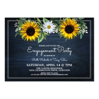 Rustic Navy Blue Sunflower|Daisy Engagement Party Invitation