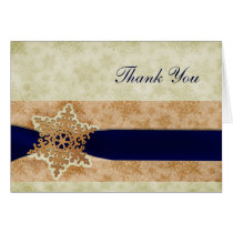 "rustic ""navy blue"" winter wedding Thank You Card"