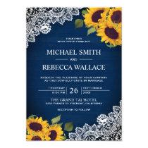 Rustic Navy Blue Wood Lace Sunflower Wedding Invitation