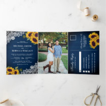 Rustic Navy Blue Wood Lace Sunflower Wedding Photo Tri-Fold Invitation