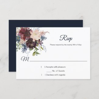 Rustic Navy Burgundy Gold Watercolor Floral RSVP
