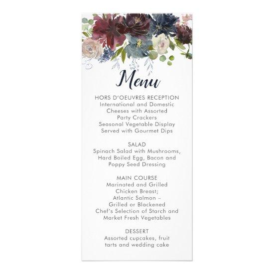 Rustic Navy Burgundy Marsala Floral Wedding Menu