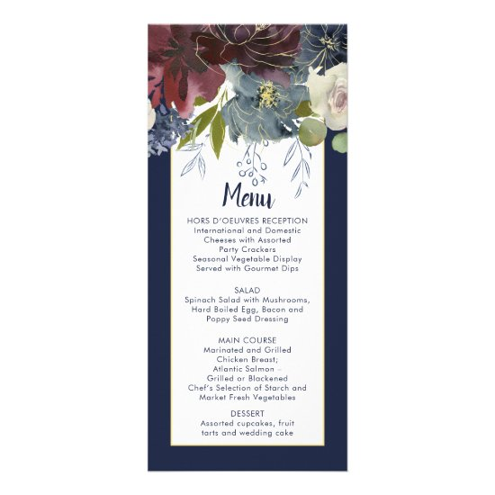 Rustic Navy Burgundy Rose Gold Floral Wedding Menu
