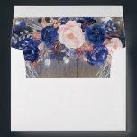 """Rustic Navy Floral Envelope<br><div class=""""desc"""">Navy flowers rustic wedding envelopes</div>"""