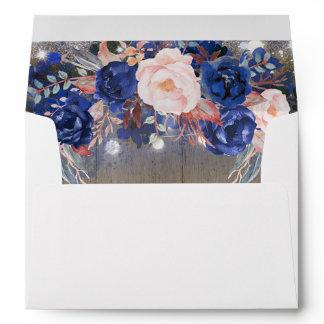 Rustic Navy Floral Envelope