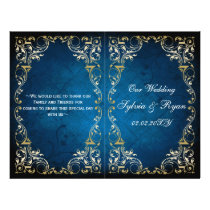 Rustic navy gold bookfold Wedding program