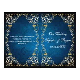 Rustic navy gold bookfold Wedding program