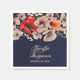 Rustic Navy Gold Floral Wedding Paper Napkin