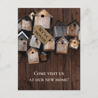Rustic New Address Bird Houses Postcard