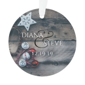 Rustic Newlyweds 1st Christmas Keepsake Monogram Ornament