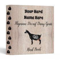 Rustic Nigerian Dwarf Dairy Goat Herd Book 3 Ring Binder