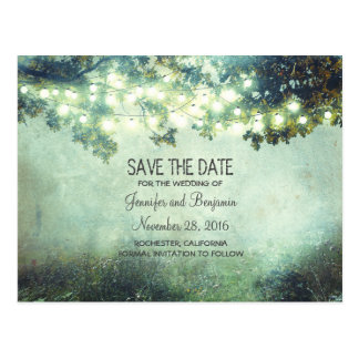 Rustic Night Lights Branches Save The Date Postcard