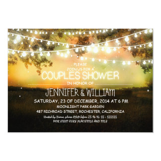 rustic night lights couples shower invitations