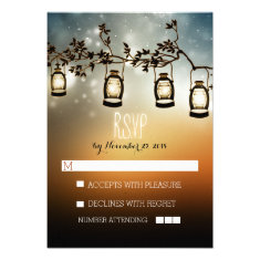 rustic night lights - lanterns wedding RSVP cards