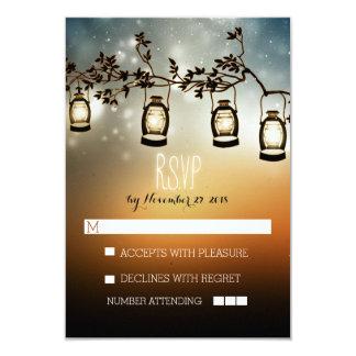 rustic night lights - lanterns wedding RSVP cards Personalized Invites