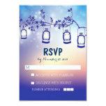 "rustic night lights - lanterns wedding RSVP cards 3.5"" X 5"" Invitation Card"