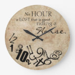 Rustic No Hour Is Lost Riding a Horse Round Wall Clock