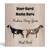 Rustic Nubian Dairy Goat Herd Book 3 Ring Binder