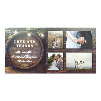 Rustic Oak Barrel Country Wedding Thank You Card
