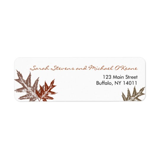 Rustic Oak Leaf Return Address Labels