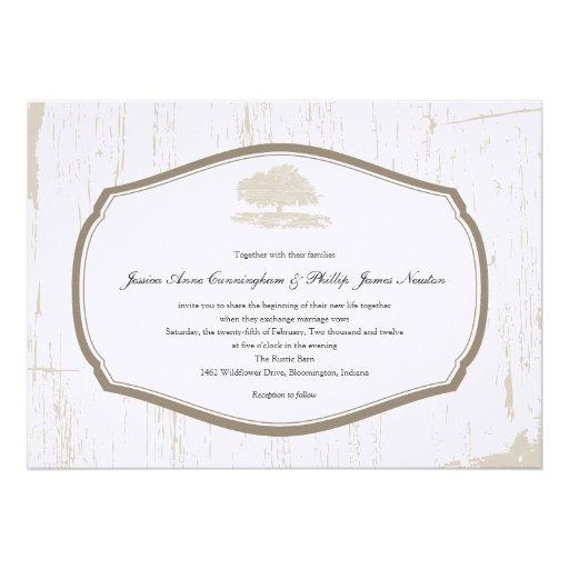 Rustic Oak Tree Barn Wedding Custom Announcements