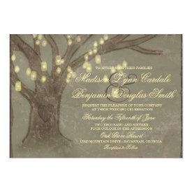 Rustic Oak Tree Mason Jar Lights Wedding Invites