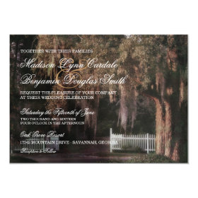 Rustic Oak Tree Picket Fence Wedding Invitations 4.5