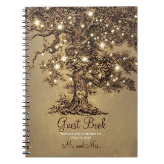 Rustic Oak Tree String Lights Wedding Guest Book