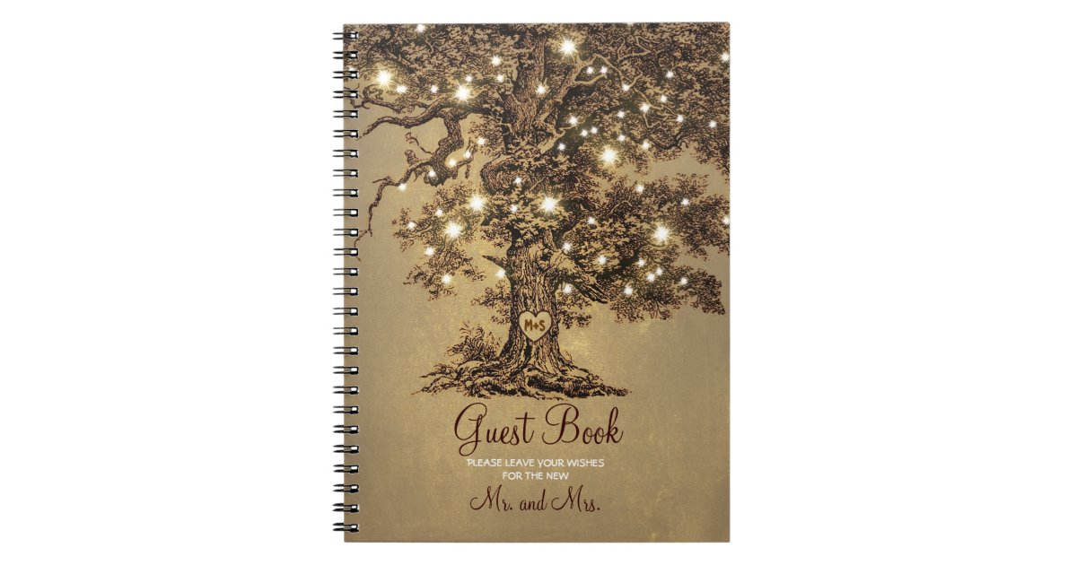 Rustic Oak Tree String Lights Wedding Guest Book Zazzle Com
