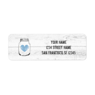 Rustic oak wood blue heart return address labels