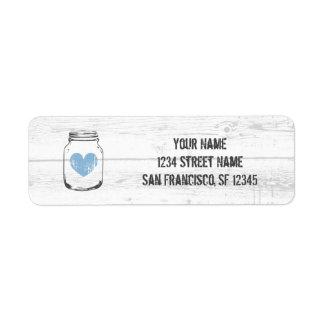 Rustic oak wood blue heart return address labels