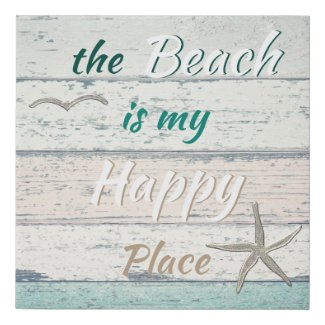 Rustic Ocean Beach Quote Faux Canvas Print