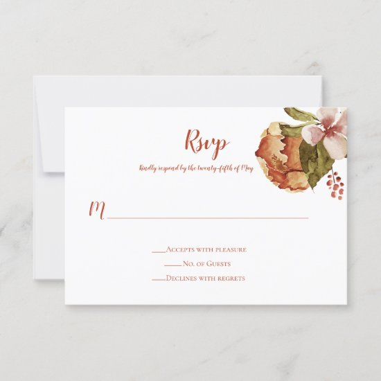 Rustic October Autumn Fall Blossoms RSVP Card