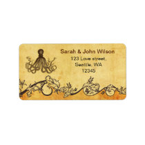 rustic octopus beach wedding address labels