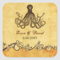 rustic octopus beach wedding  envelopes seals