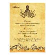 rustic octopus beach wedding menu cards
