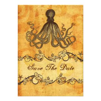 rustic octopus beach wedding save the date custom announcements
