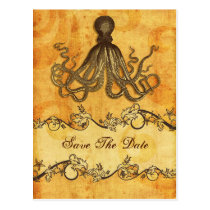 rustic octopus beach wedding save the date postcard