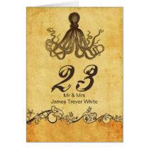 rustic octopus beach wedding table numbers card