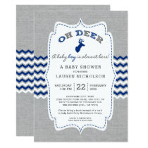 Rustic OH DEER Buck Baby Shower, navy gray Card