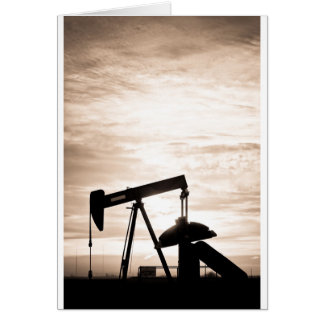 Rustic Oil Well Pump Vertical Sepia Greeting Card