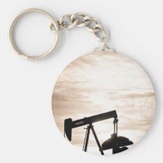 Rustic Oil Well Pump Vertical Sepia Keychain
