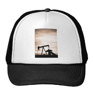 Rustic Oil Well Pump Vertical Sepia Trucker Hat