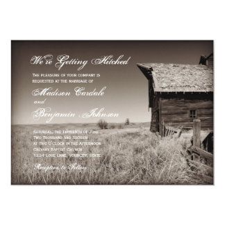 Rustic Old Barn Country Wedding Invitations