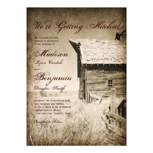 Rustic Old Barn Country Wedding Invitations Awesome Design