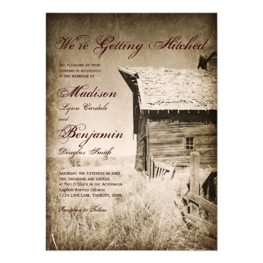 Rustic Old Barn Country Wedding Invitations Announcement